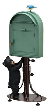 クマ くま 緑 グリーン ポスト 郵便受け スタンド スタンドポスト 置き型ポスト おしゃれ 郵便ポスト 南京錠付き メール ボックス スタンドタイプ ポスト 組立式 工事不要