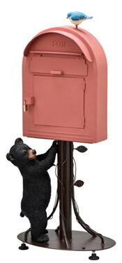 クマ くま 赤 レッド ポスト 郵便受け スタンド スタンドポスト 置き型ポスト おしゃれ 郵便ポスト 南京錠付き メール ボックス スタンドタイプ ポスト 組立式 工事不要