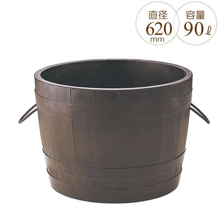 プランター 大型 円形 植木鉢 円柱形 GRCプランター ビヤ樽ポルカ 木目 直径620×H440mm