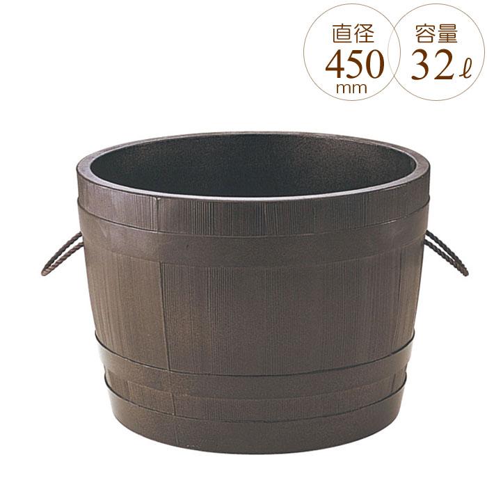 プランター 大型 円形 植木鉢 円柱形 GRCプランター ビヤ樽ポルカ 木目 直径450×H300mm