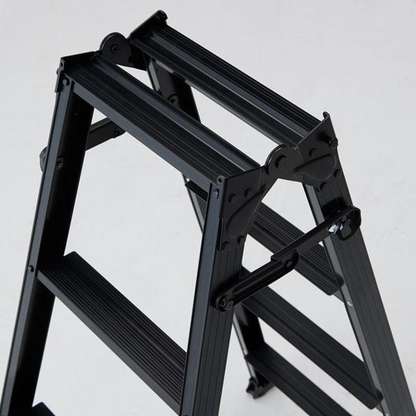 脚立 折りたたみ おしゃれ アルミ 5段 はしご 兼用脚立 ブラック 作業道具 作業台 ハシゴ 梯子 台 踏み台 足場 足場台 内装工事 建築 現場 洗車 天井 ボード張 DIY