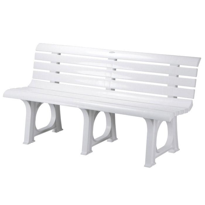 ガーデン ベンチ Lベンチ 2人掛け 椅子 幅145.5×奥行52×高さ73.4cm ポリプロピレン樹脂 ホワイト 白 1脚