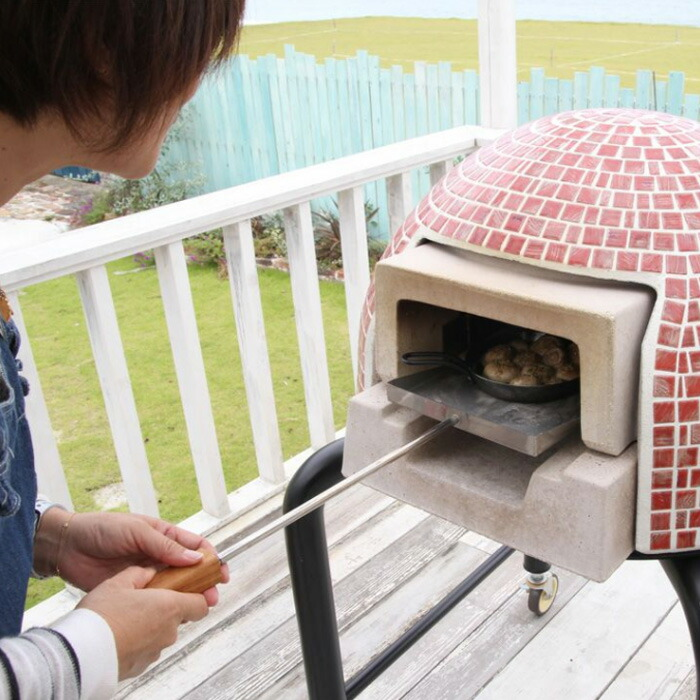 ガーデン アウトドア 石窯 ピザ窯 家庭用石窯 プチドーム用 スコップ ステンレス・チーク材 DIY 料理の出し入れに便利 納品1週間程度