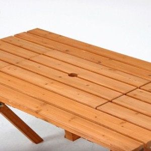 バーベキュー木製テーブル&ベンチ3点セット(コンロスペース付)美しい赤みのある杉材使用♪お庭やデッキに