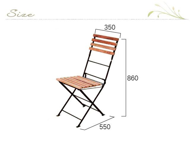 ガーデンチェアー  折りたたみ椅子 木製ガーデンチェアー 折り畳みアイアンチークチェアー 2脚入 ベランダ椅子 完成品