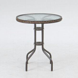 シンプルデザイン北欧テイスト ガーデンテーブル スチール&強化ガラス 丸天板直径600mm カフェ ベランダ