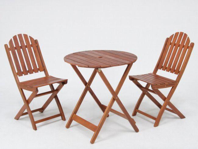 折りたたみ木製ガーデンテーブル ラウンドテーブル 丸天板直径685mm・≪2脚セット≫折りたたみ木製ガーデンチェアー 幅390mm性に優れ腐りにくいアカシア材使用♪
