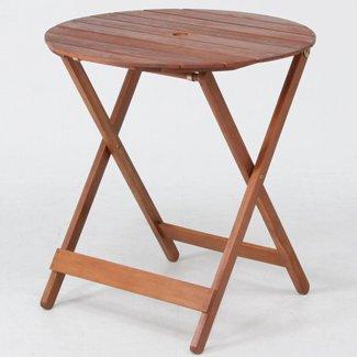 折りたたみ木製ガーデンテーブル ラウンドテーブル 丸天板直径685mm