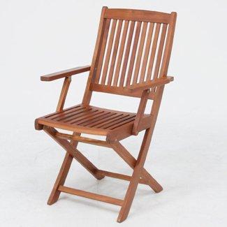 ≪2脚セット≫折りたたみ木製ガーデンチェアー(肘付き)幅540mm 耐久性に優れ腐りにくいアカシア材使用♪