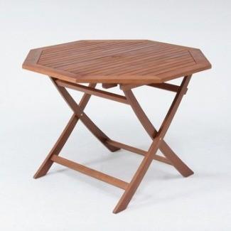 折りたたみ木製テーブル ガーデンテーブル 八角形天板直径1100mm 耐久性に優れ腐りにくいアカシア材使用♪