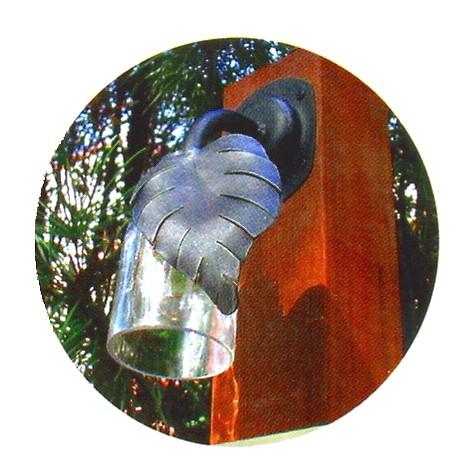 レトロ照明 玄関照明 玄関 照明 門柱灯 門灯 外灯 屋外 照明 ガラス+ロートアイアン製 ボトル門灯リーフ SR1-BML ブラケット 照明器具 おしゃれ E17 LED電球 1.5W