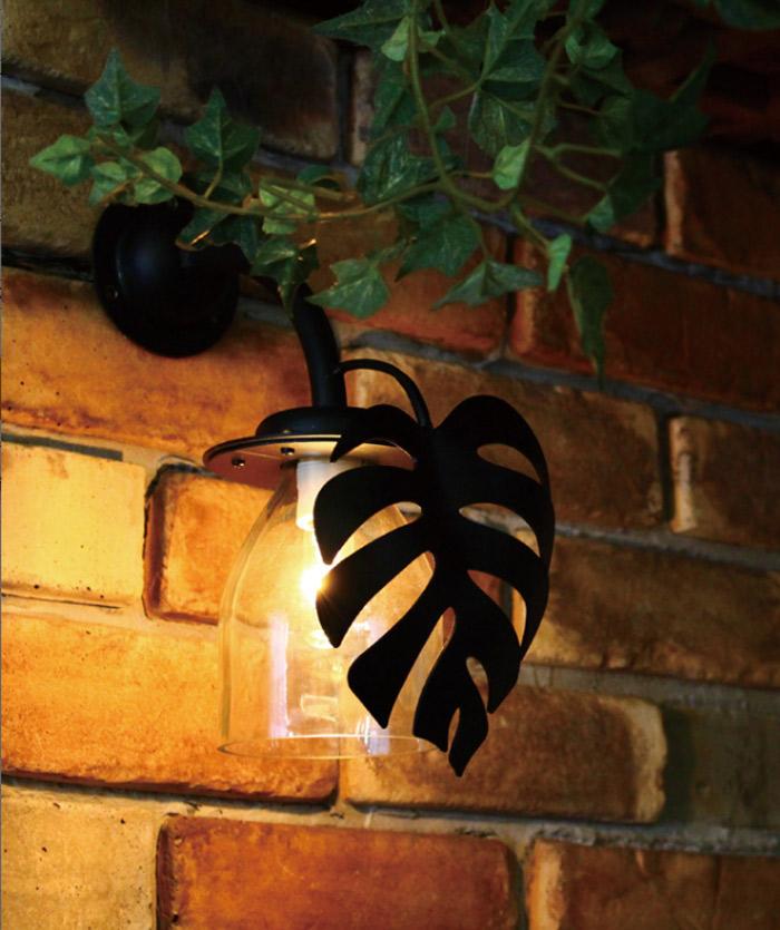 玄関照明門柱灯 屋外照明 ガラス+ロートアイアン製ボトル門灯 モンステラ レトロ外灯 アンティーク風照明 ブラケット照明