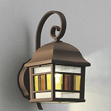玄関照明 玄関 照明 屋外 門柱灯 門灯 外灯 ポーチライト LED 壁面専用型  ステンドグラス ブラケット E26 LED電球クリア一般形 6.2W 人感センサー 明暗センサー ライト センサーライト