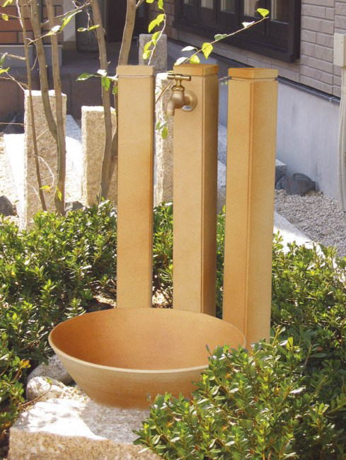 陶器立水栓【ハニワ】角タイプ ガーデニング水栓柱 和風