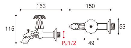 蛇口 イタリアドラゴン水栓ドラゴンロング詳細図面