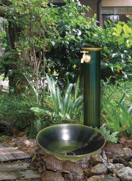 陶器立水栓【織部】円柱タイプ