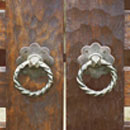 ウッド門扉 R-1型0812柱仕様■両開きセット 取っ手部(表側)