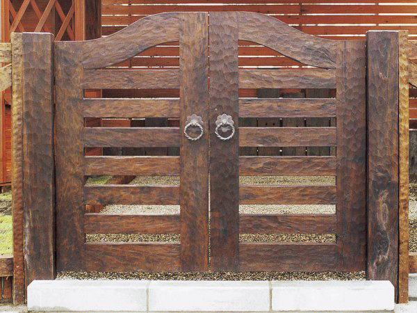ウッド門扉 扇2型0812柱仕様 両開きセット