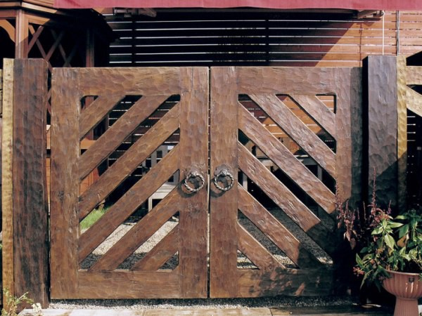 ウッド門扉 ストライプ2型0812柱仕様 両開きセット