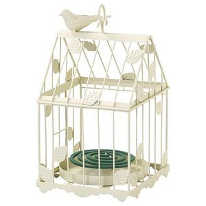 蚊取り線香入れ 蚊やり 蚊遣り ガーデニング雑貨 ミニグリーン入れ 小鳥と葉っぱのオーナメント アイボリー
