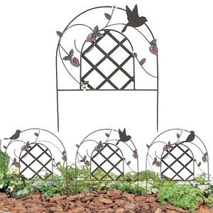ミニフェンス ガーデニング フェンス ガーデニング雑貨 小鳥と葉っぱのオーナメント いちご3枚セット
