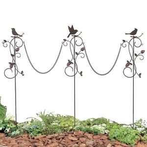 ミニフェンス ガーデニング フェンス ガーデニング雑貨 チェーンピック 小鳥と葉っぱのオーナメント いちご3本セット
