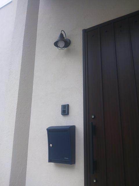 施工例 玄関照明 門柱灯 照明 9022 アンティーク風 ブラケット