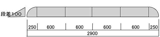 100mm段差用 段差スロープ セフティ・スロープ 【セット品・2900×250×95mm】