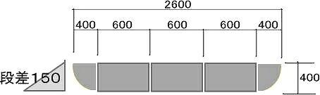 150mm段差用 段差スロープ ハイ・ステップコーナー 【セット品・2600×400×145mm】 セット内容