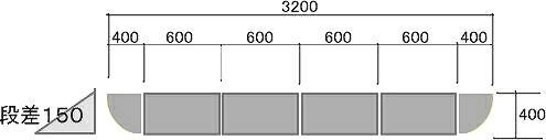 150mm段差用 段差スロープ ハイ・ステップコーナー 【セット品・3200×400×145mm】