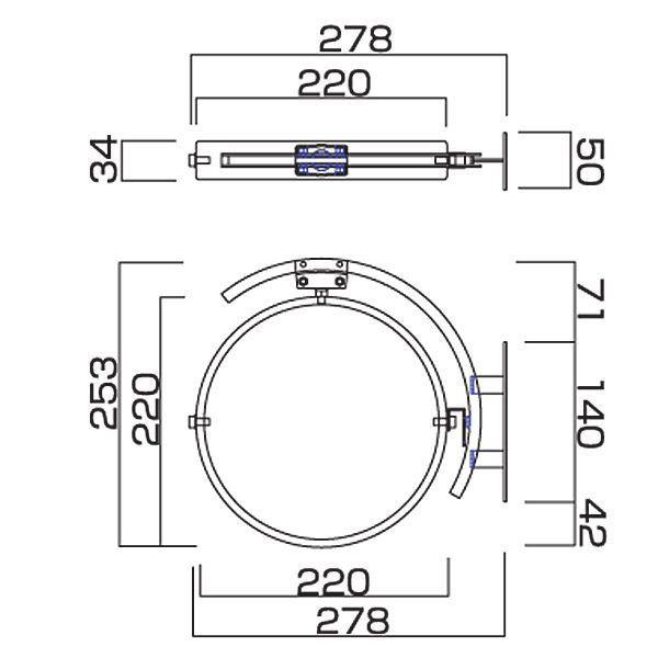 駐車場 車庫 カーブミラー 鏡 道路反射鏡 おしゃれなガレージミラー シンプル サイズ詳細