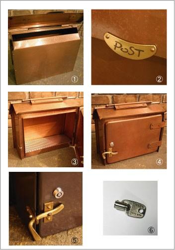 郵便受けポスト 銅製ポスト12型(鍵付)