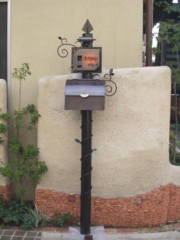 銅製ポスト2型セット例4 郵便受けポスト