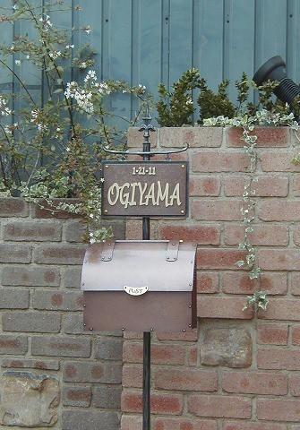 銅製ポスト2型セット例5 郵便受けポスト