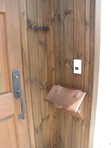 銅製ポスト7型 施工例1 郵便受けポスト