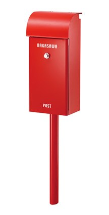 郵便ポスト スタンドタイプ アンティーク レトロ 郵便受け ポスト Feel 〈レッド〉 スタンド 式 鍵付き