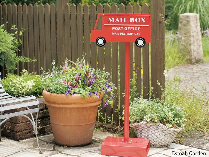 ポスト 郵便受け スタンドタイプ 郵便ポスト デザインポスト POST OFFICE レッド 赤 イメージ画像