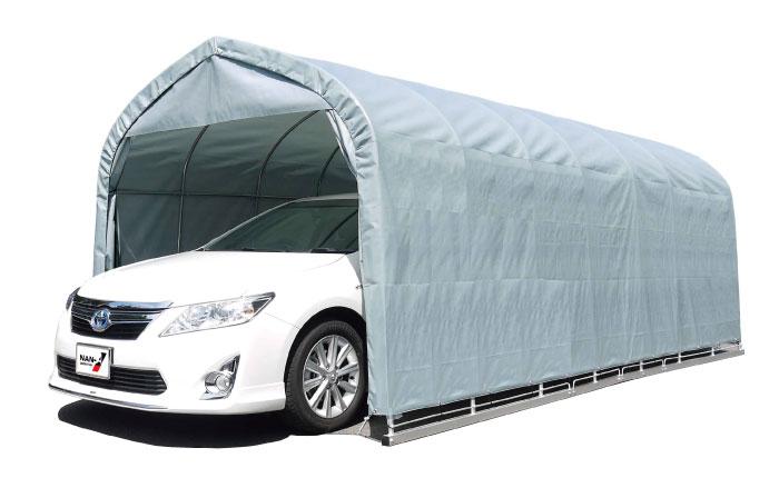 パイプ車庫 セダン用埋込み式 幅3.0m×奥行5.6m×高さ2.4m GR色