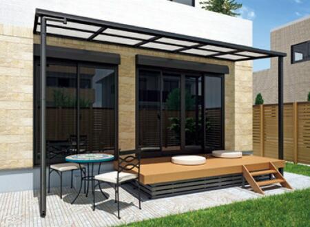 設置条件に合わせて、柱が前後(350mm)左右(500mm)に移動可能な大人気のフラット屋根タイプテラス。「グランフラット2」