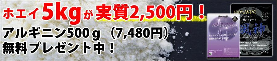 風神プロテイン5kgアルギニン500g
