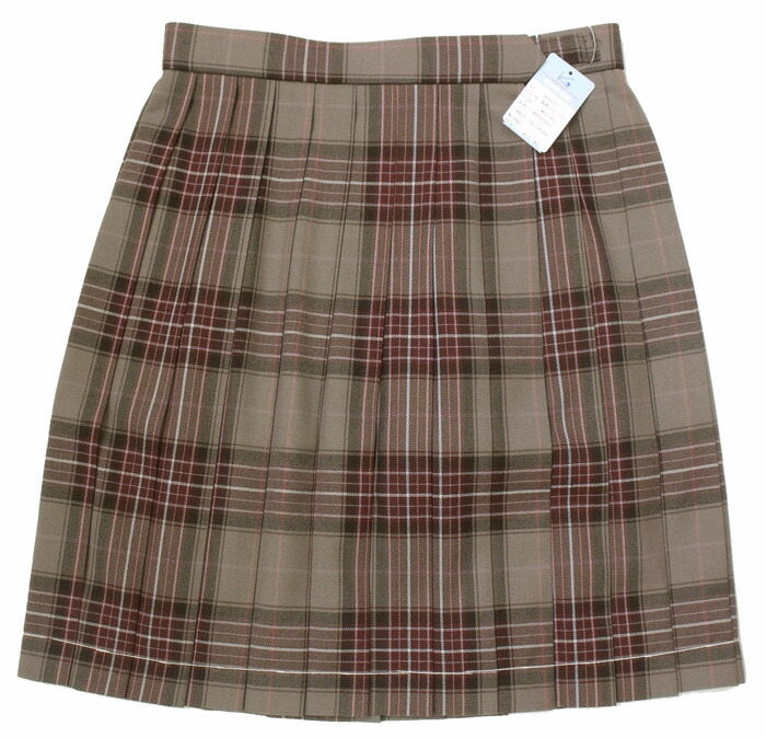 制服スカート【KR-377】丈42・W60~72(KURI-ORIクリオリ/茶系にピンクと白の差し色の上品チェック柄)