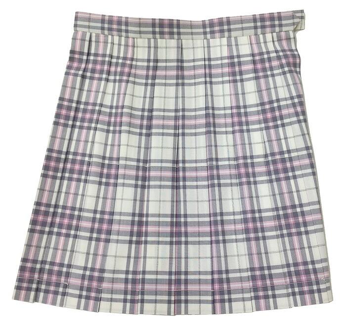 制服サマースカート【SKR112】W60~72(KURI-ORIクリオリ オフ白×ピンクグレーチェック 丈42