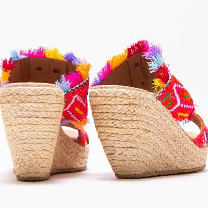 エスニック サンダル ウェッジソール 厚底 レディース 8cm ヒール 22.5cm-25cm エスニックファッション アジアンファッション 靴 サンダル 刺繍 モン族 フリンジ エスニック アジアン 送料無料
