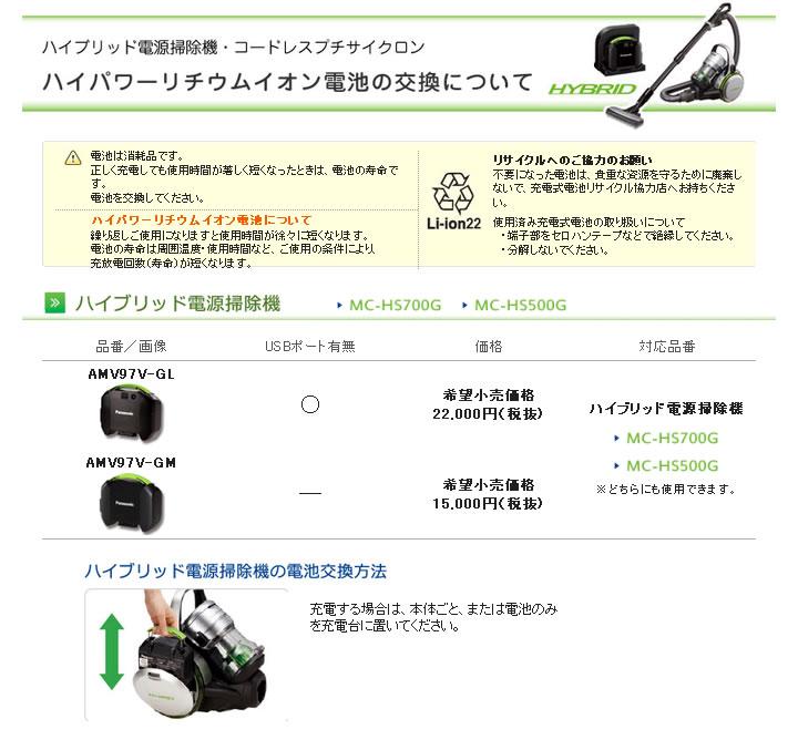 【ky】 【smtb-k】 交換用 ハイブリッド電源掃除機用 AMV97V-GM 【KK9N0D18P】 パナソニック リチウムイオン電池