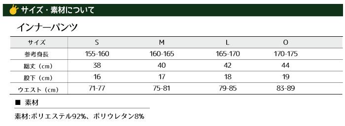 オリジナルインナーパンツサイズ表