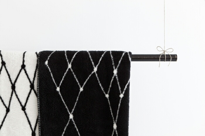 (black & white) bastisRIKE | 白黒ブランケット THE GRID - COTTON BLANKET |