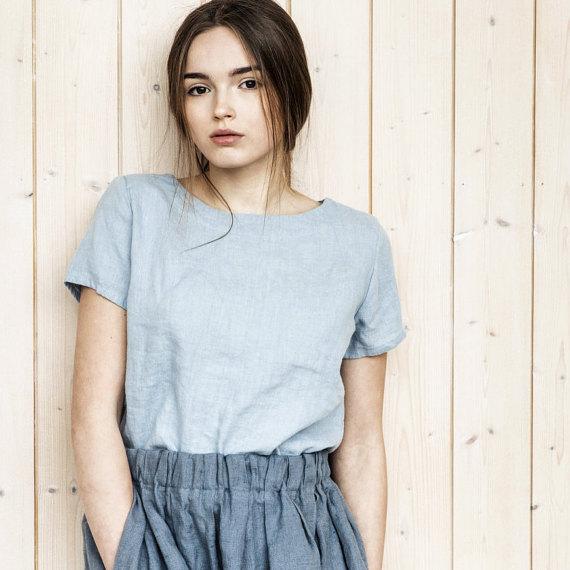 not perfect linen basic linen t shirt bluish grey uk8 s hafen. Black Bedroom Furniture Sets. Home Design Ideas