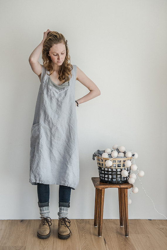 not perfect linen pinafore square cross linen apron washed silver. Black Bedroom Furniture Sets. Home Design Ideas