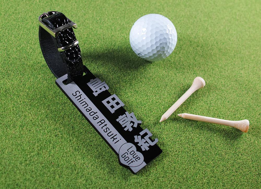 ゴルファーに必携、贈り物に最適!高級感溢れるブラックアクリルのオリジナルキャディバッグ用ネームタグ。