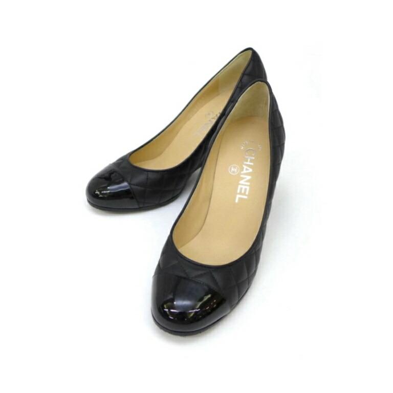 パンプス 靴 マトラッセ×エナメル